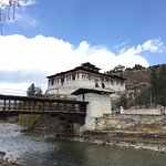 view of the bridge and dzong