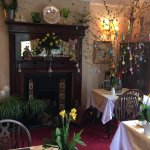 The dining area decorated for Easter