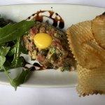 Classically prepared steak tartar.