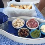 Delicious appetizers on the boat! Amazing pesto!