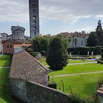 Lucca gardens with Duomo bell tower in the background; taken from the wall surrounding the town.