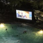 Saturday movie night at the pool