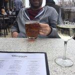 Drinks on the patio at Taverne Gaspar (next door)