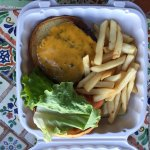 Cheeseburger with lettuce, tomato, fries on 3/12/2017