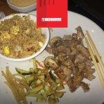 Hibachi New York Strip Steak, Fried Rice with chicken and veggies