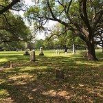 Texas camp and gravestones