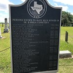Texas historical marker - names of people in the graves