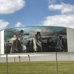 Murals on the tankers on the road leading up to the battleground