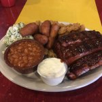Ribs, Calabash Shrimp, Coleslaw, Hush Puppies, Baked Beans....