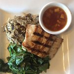 Mahi Mahi with sauteed spinach, wild rice and mango chutney