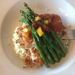 Coconut Encrusted Chicken with asparagus over mash