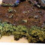 Inside the Kookoo Sabzi - vegetables & egg, ground & fried.
