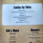 Saddle Up Steakhouse Menu