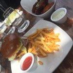 6 wings in an order, cheeseburger & fries