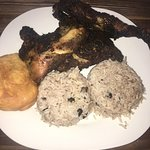 BBQ Night Jerk Chicken, Rice and peas, and fritters