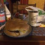 Sándwich churrasco queso cebolla champiñón!