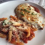 Chicken parmesan with penne marinara
