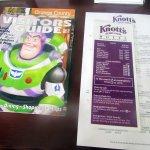 Tourism Brochures, Room Service Menu, Knott's Berry Farm Hotel, Buena Park, CA