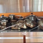 Pots and pans in the shared kitchen (NB:  not all shown)