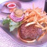 hamburger and fries platter