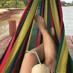 Hammock on the dock, fresh coconut from the bar.