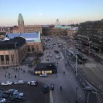 View of central station to the left and one of Helsinki's main intersections. Room was quiet.