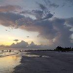 Looking north along the beach at dusk.