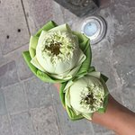 We went to the flower market to pick up some lotus flowers and then learned how to fold them.
