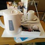 Tea tray. Integrated kettle, tea, coffee, sugar, sweetener