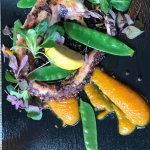 Grilled octopus with a pumpkin cream.
