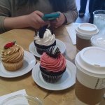 Oreo, strawberry chocolate, salted caramel cupcakes, coffee and a late