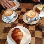 Excellent cappuccino,juices,croissants,pastry