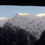 Snow capped mountains from the room balcony