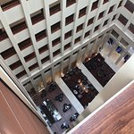 Hotel lobby as seen from above