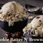 Ribbons of cookie batter and brownie pieces in vanilla ice cream!