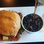 crunchy coconut mahi sandwich with black beans & rice