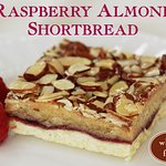 Buttery shortbread baked with fresh raspberry puree and almond cream