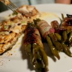 Blackened Mahi with bacon-wrapped green beans. Delicious!