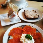 Lox on rye, lamb pate, dried fish, meat soup