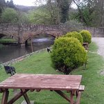 Seating area outside by the River Lugg
