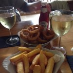 Chips, onion rings fine....wine - awful and expensive