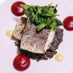 #croaker #fillet #roasted #lentils #belug #baby #spinaci #agioli #saffron #beetroot.