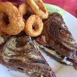 Reuben sandwich and Onion Rings