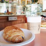 Pain au chocolat with coffee