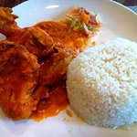 Lunch item which I selected from their menu: chicken curry cooked in coconut souce with rice