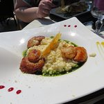 Saint Jacques , risotto et pesto
