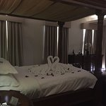 anniversary hotel suite, swans and rose petals