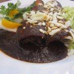 chocolate mole simmered chicken enchiladas with cilantro rice