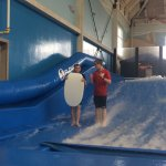 My son getting taught how to do tricks on the Riptide by an awesome employee named Jerry.