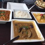 Paneer, baigan and grouper curries